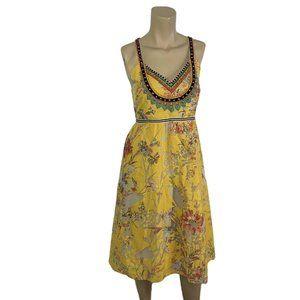 VINEET BAHL Varenees Dress 10 Yellow Floral Midi